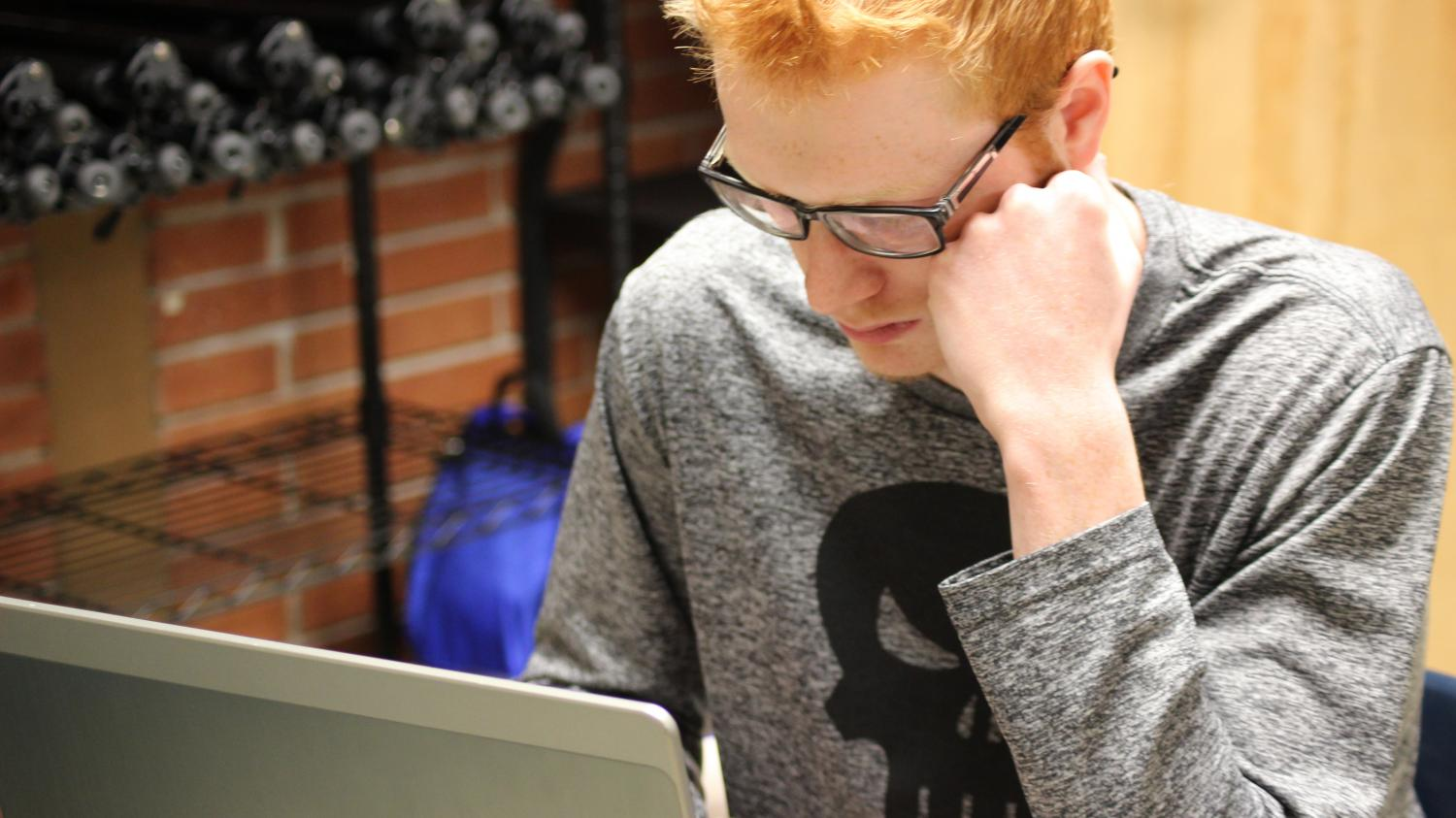 Senior Quinlan Roth working on his next video for Mr. Garver on Thursday May 11th.