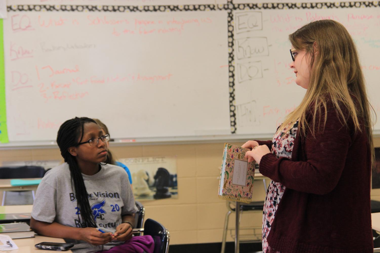 English teacher Chelsea Todd at the Girls Who Club meeting.