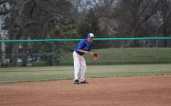 Nick Sharp waiting on a play to come his way at the home baseball game April 24th against Seamen.
